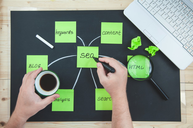SEO word surrounded with other important SEO words, representing technical SEO mistakes you're probably making and how to fix them